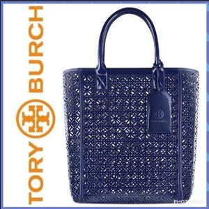 Tory Butch Tote Perforated Patent Blue Travel NWT
